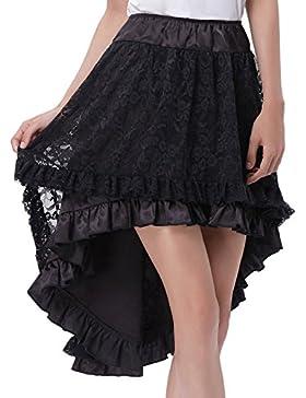 Belle Poque Verano falda Rockabilly Vintage falda de una línea Falda asimétrica falda del partido faldas solemnes
