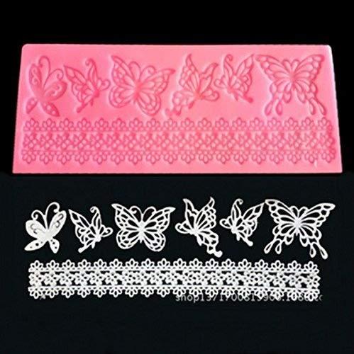 SwirlColor Schmetterlings-Form-Silikon-Spitze-Form-Blumen-Zucker Fondant-Kuchen-Form Weihnachtskuchen decoratin Formen Backen-Werkzeuge