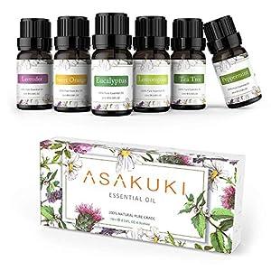 ASAKUKI Set de regalo de aceites esenciales puros 6 x 10 ml, lavanda natural, eucalipto, limoncillo, árbol de té…