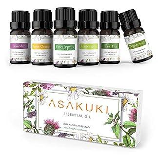 ASAKUKI Set de regalo de aceites esenciales puros 6 x 10 ml, lavanda natural, eucalipto, limoncillo, árbol de té, naranja dulce y menta, difusor, humidificador, masaje o jabones de bricolaje, velas