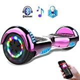 Balance Board Patinete Eléctrico Scooter Monopatín Eléctricocon LED Hover Board,Bluetooth (Chriome Rose)