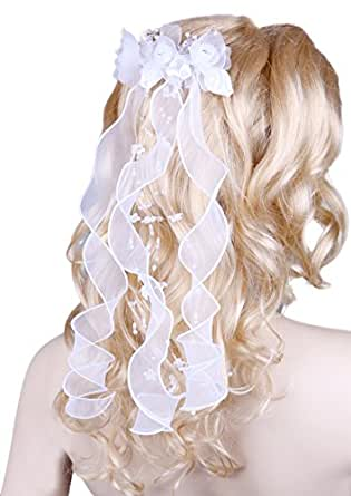 Flora Flower Girl's Communion Headpiece/Bridal Ribbon Bow Veil,Beads & Diamantes (White)