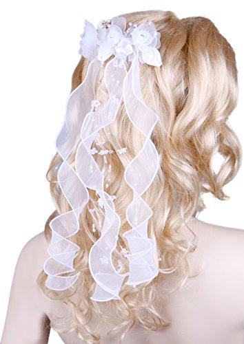 Flora Blumen-Mädchen-Kommunion Kopfschmuck/Brautschleier, Perlen und Diamantes (Weiß)