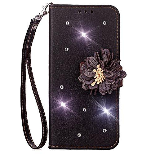 Brieftasche PU Ledertasche Hülle für Sony Xperia XA2 Bling Strass Tasche Glitter Leder Soft TPU Bumper mit Kartenfach Magnetverschlu und Ständer für Sony Xperia XA2 - Schwarz -