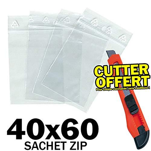 Pirabadi - confezione da 500 bustine con zip in plastica trasparente, 4 x 6 cm, 50 μ, chiusura a pressione, 40 x 60 mm, confezione da 500