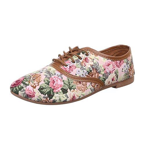 Damen Schuhe, C27-20-1, HALBSCHUHE SCHNÜRER Rosa Multi