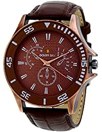 Golden Bell Original Chronograph Look Brown Dial Brown Strap Analog Wrist Watch For Men - GB-621