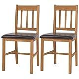 Festnight- Küchenstühle Stuhl mit Rückenlehne Set 2 Stk. Massives Eichenholz 43 x 48 x 85 cm