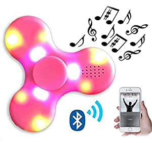 Elios Rechargeable Bluetooth Fidget Spinner with LED Light and Music (Pink)