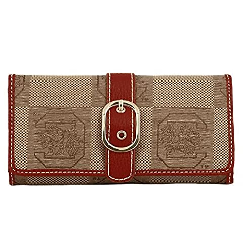 South Carolina Gamecocks Leather and Jacquard Fabric Ladies Marlo Wallet by Sports Team Accessories