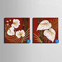 ZSH Bambù e fiori dipinti a mano olio pittura, cornice