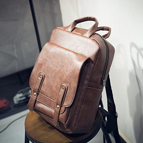 Tragbare Schultertasche multifunktionale Rucksack britischen männlichen Paket Light brown