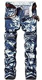SMITHROAD Jeans Herren Jungen Motorrad Hose Skinny mit Löchern Risse Faltenwurf Reißverschluss Schneeflocken Casual Gewaschen Streetwear Clubwear Freizeithose,Blau Gr.40