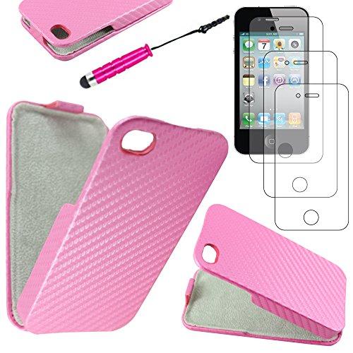 ebestStar - pour Apple iPhone 4S, 4 - Etui Rabat Revêtement Carbone + Mini Stylet tactile + 3 Films protection écran, Couleur Blanc [Dimensions PRECISES de votre appareil : 115.2 x 58.6 x 9.3 mm, écra Rose
