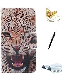 TOUCASA A3 Handyhülle,A3 Hülle, Brieftasche Flip PU Leder etui Tasche 360 Grad Karte Halterung Kartenfächer extra Dünn Klapphülle Leinwand-Oberflächen-Ölgemälde-reizendes Tier fürSamsung A3(Leopard)