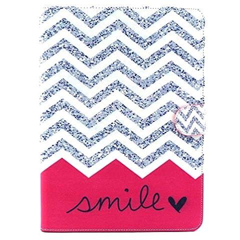 """Etui Samsung Tab 4 10.1"""" - Folio Housse Multi-angles Stand Supporter Magnétique Etui à Rabat Coque en Cuir Smart Cover Case pour Tablette Samsung Galaxy Tab 4 10.1 Pouces T530 T531-Vague de sourire"""