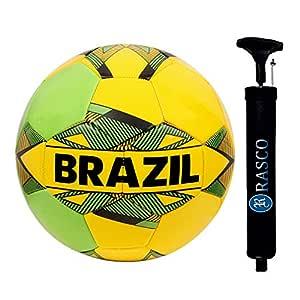 RASCO Brazil Yellow Machine Stitched Football with Pump Size 5