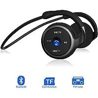 Casque Audio Sans Fil Bluetooth Sport 4.1,Ecouteur Pliable Sans Fil,Wireless Headset 3 en 1,Supporte une carte TF (jusqu'à 32Go),Radio FM et Instructions Vocales,Stable 38g,Facile à Porter (Noir)
