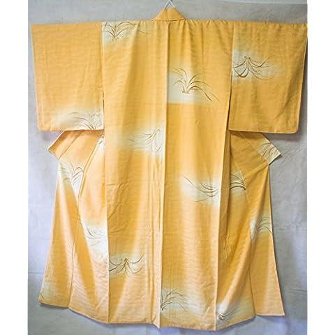 Kimono: Seta Komon arancione nuvole modello di colore autentico stile antico