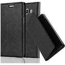 Cadorabo - Funda Book Style Cuero Sintético en Diseño Libro Samsung Galaxy A5 (5) (Modelo 2015) – Etui Case Cover Carcasa Caja Protección con Imán Invisible en NEGRO-ANTRACITA