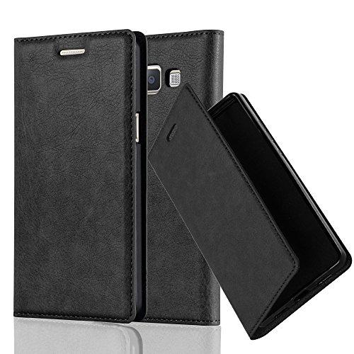 Preisvergleich Produktbild Cadorabo Hülle für Samsung Galaxy A5 2015 (5) - Hülle in Nacht SCHWARZ – Handyhülle mit Magnetverschluss,  Standfunktion und Kartenfach - Case Cover Schutzhülle Etui Tasche Book Klapp Style