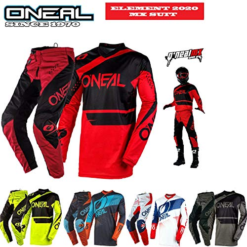 MOTORRADANZUG ONEAL ELEMENT 2020 MOTORRADKOMBI Motorrad Herren Motocross Anzug Rennkleidung Quad Cross Hose e Hemden Sport Bekleidung Off-road MX Zweiteilige Kombinationen (Rot Schwarz, L - 34Hose)