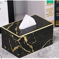 HJLHFD Black Gold Marble Paper Towel Box Tray Home Living Room Table Cute Napkin Carton Paper Box Tissues Boxes Bulk 19X12X10Cm