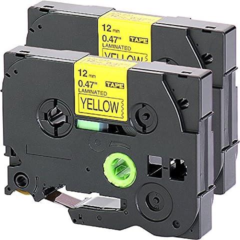 2x Nastro Tape Cassette per Brother TZe - 631 12 millimetri nero su giallo 12 millimetri di larghezza x lunghezza 8m compatibile con TZ631 per esempio P-Touch 1000W
