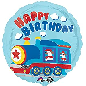 "Amscan International 3455101 ""All Aboard Happy Birthday Globo de Papel de Aluminio estándar"
