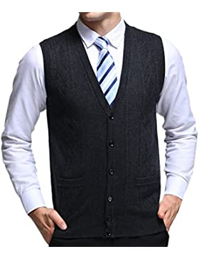 Zhhlinyuan alta calidad Mens Men's Father Business Spring Soft Sleeveless V-neck Wool Pullover Knitted Jumper...