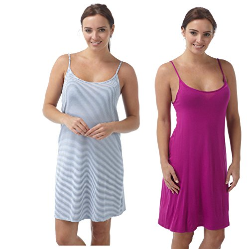 Ladies Short Chemise   Nightie   Slip Two in a Pack - Hot Pink   Blue ... 6d8ab6cba
