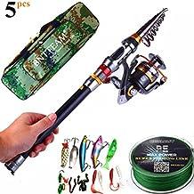 bntteam 5 paquetes 2.1 M, 2,4 m, 3.0 m 99% carbono telescópica pesca Rod & 11BB carrete y bolsa de 20in de pesca y señuelos y línea, caña de pesca combo set de pesca-3.0m