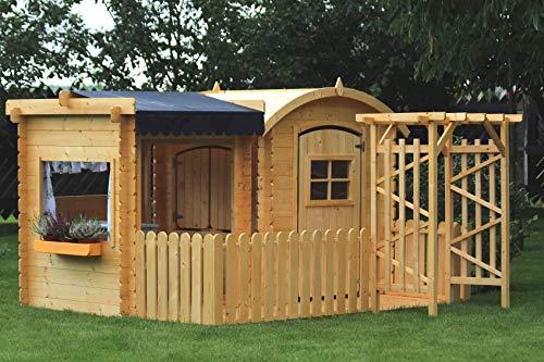 TIMBELA M505+M080M Maisonnette en Bois avec abri et terrasse- Maison de Jardin pour Enfants - pour l'exterieur
