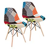 Fashion Commerce 02-FC6744 Set Sedie Patchwork, Legno, Multicolore, 58x47x84 cm, 2 Unità