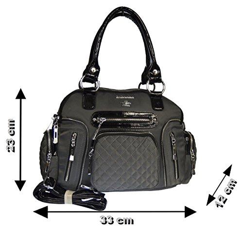 Tasche Damentasche Handtasche Stofftaschen Schultertasche 11615 (Rosa) Grau