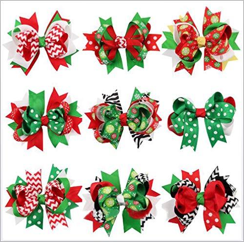 Pinzas pelo diseño lazos navideños, 9 unidades
