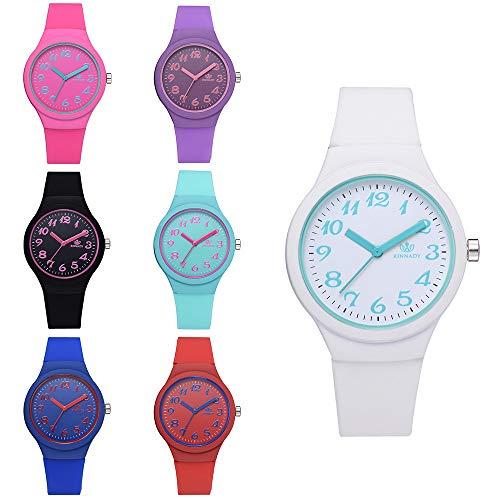 Altsommer Sport Uhr,Frauen Uhren,Armbanduhr mit Bunter Zifferblatt,2cm Silikonarmband,Damen Uhr mit Silikon Armband mit Sonderzifferblatt,Kinder Uhr mit 24 cm lang,Viele Farben (Schwarz)