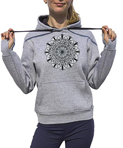 KrisTalas, Sudadera con Capucha Mujer, Mandala Drawing Yoga Lotus, Gris, XX-Large