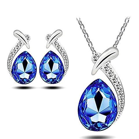 Neevas Fashion Austrian Crystal Jewellery Set: Stud Earrings, Necklace Lady Gift Girl (Royal Blue)
