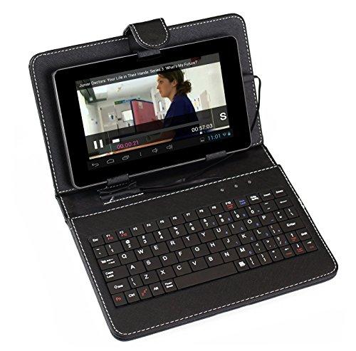 """custodia con tastiera tablet 7 pollici SUMVISION NERO UNIVERSALE TASTIERA CUSTODIA PELLE PER 7"""" TABLET PC CON MICRO USB CONNESSIONE"""