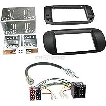 FIAT 500AB 072DIN auto Radio Incasso Set in originale Plug & Play qualità con radio antenna Adapter, cavo di collegamento, accessori e mascherina per autoradio/Telaio di montaggio nero