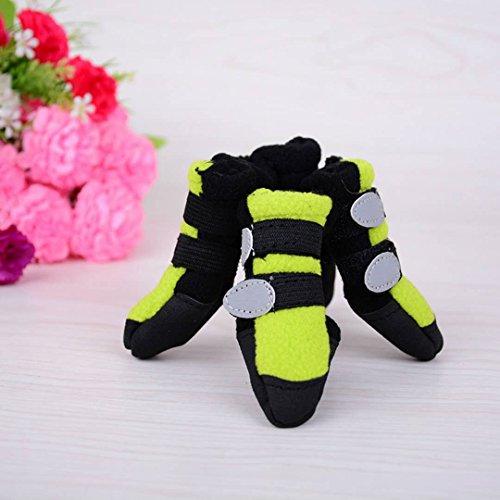 XiYunHan Pet Sneakers, Wildleder Rutschfeste Stiefel Reflektierende verschleißfeste Soft Sohlen Schuhe 4 Stück Größe Sport Dog Boots 2 Farbe 5 Größe (Color : Yellow, Size : 40#)