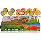 Toonpops Cartoon Lollipops Assorted Fruit Flavoured Swirl Lollipop 1.5 Inch Round, 120 G (Pack Of 12 Pcs)