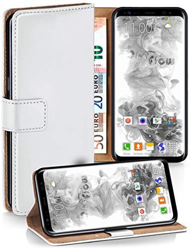 moex Booklet mit Flip Funktion [360 Grad Voll-Schutz] für Samsung Galaxy S8 | Geldfach und Kartenfach + Stand-Funktion und Magnet-Verschluss, Weiß