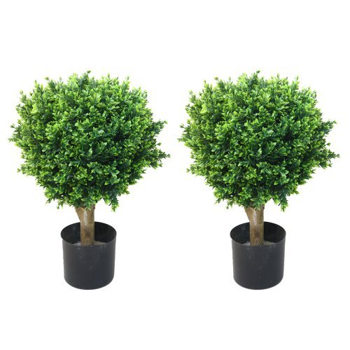 Pure Garden Pair Hedyotis Single Ball Topiary, 24-Inch by Pure Garden