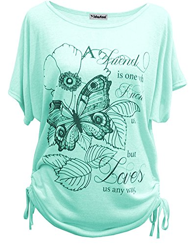 Yidarton Sommer Frauen Bluse weg von der Schulter Short Sleeve Feder Druck Muster Jumper Tops Pullover T-Shirt (L/ EU 40-42, Schmetterling-Grün)