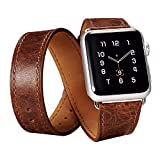 SALE: Apple Watch Band, Long Strap and Cuff Band Combination Genuine Leather Strap For Apple Watch Band Double Tour Bracelet Leather Watchband with Metal Clasp for Apple iWatch and Sports & Edition, BOOSTED® - Tan (38mm, Coffee - 4 Piece)