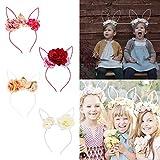 Autone Mädchen Cute Kaninchen Ohren Kopfband mit Blume, Kinder Hoop Haarband Kostüm Zubehör Geschenke, Rosarot
