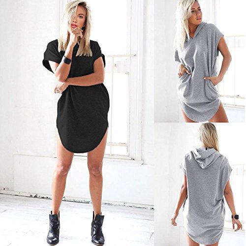 CU@EY Donne con cappuccio t-shirt stile maglione-American , black , xxl