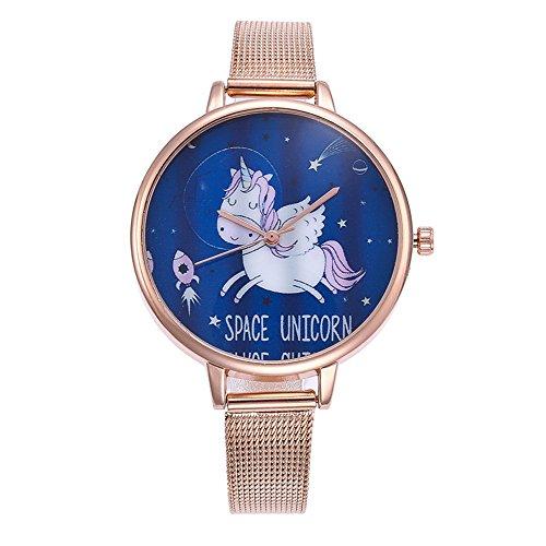 Souarts Damen Armbanduhr Einfach Mesh Metallarmband Flamingo Ananas Einhorn Regenbogen Casual Analoge Quarz Uhr Silber Farbe Einhorn Mädchen Uhr (Rosa gold 1)